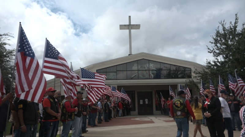 Marine LCpl David Lee Espinoza is taken to St. Patrick's Church for his funeral mass