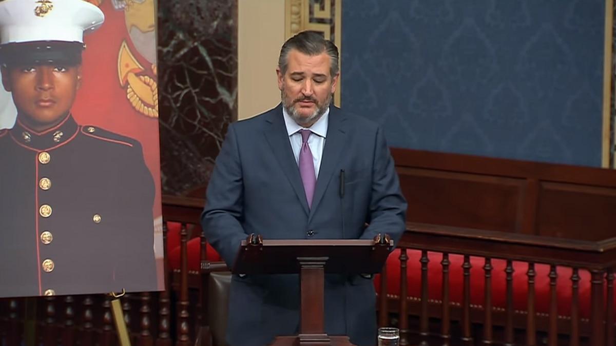 Texas Senator Ted Cruz honors LCpl David Lee Espinoza on the Senate floor today
