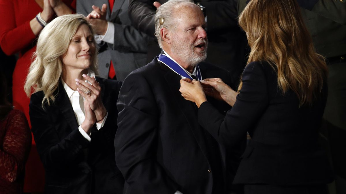 First Lady Melania Trump presents the Presidential Medal of Freedom to Rush Limbaugh as his...
