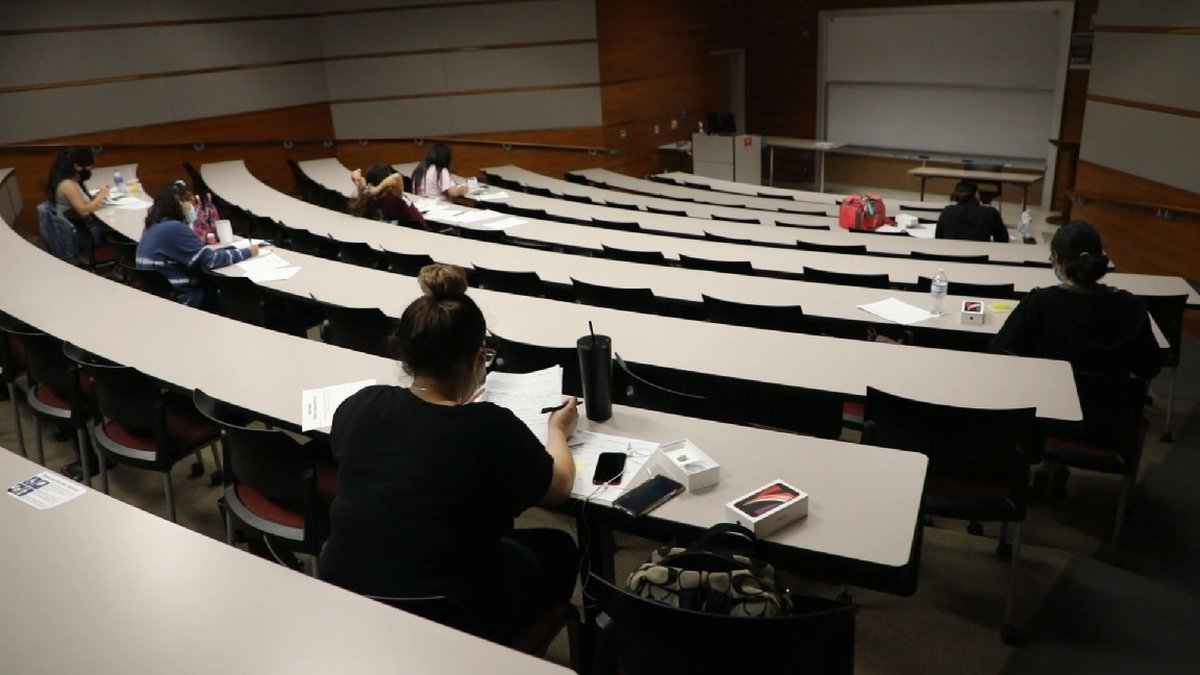 File photo: TAMIU students social distance in classroom