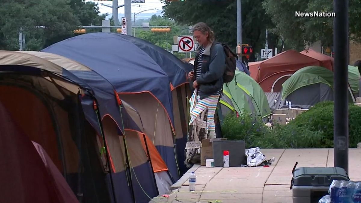 Many set up tents outside Austin City Hall to protest public camping ban