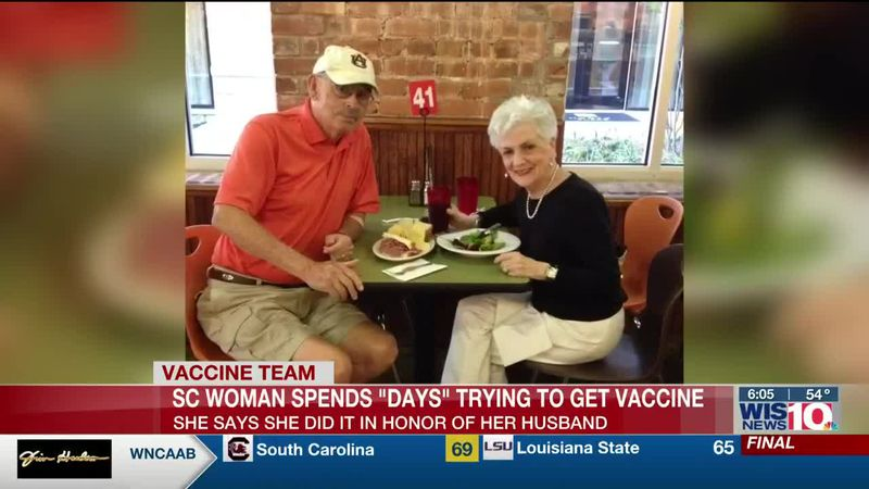 A South Carolina woman spends days registering for the COVID-19 vaccine after losing husband of...