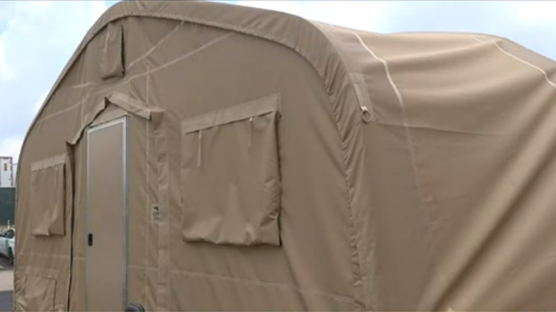 Border Patrol sets up shelter tents to house migrant overflow