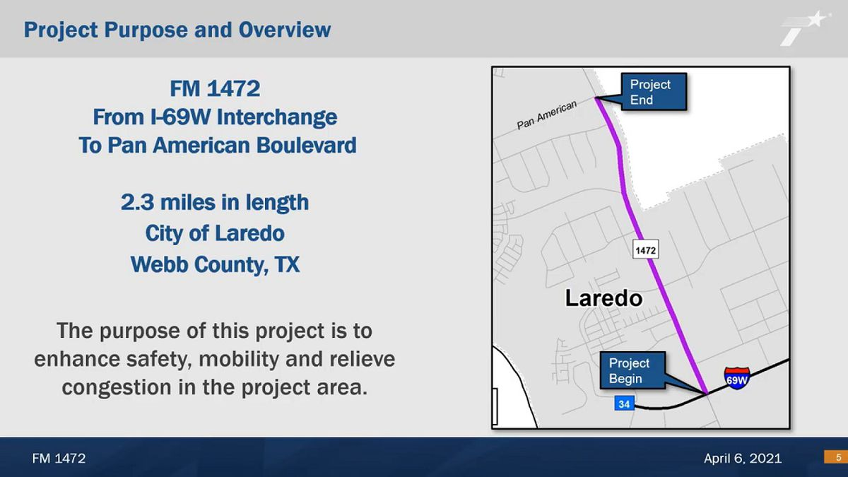 TxDOT's Proposed Project Virtual Public Meeting Presentation on Mines road improvement project