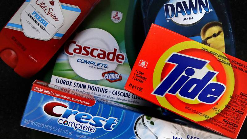 FILE- In this June 15, 2018, file photo a variety of Procter & Gamble products rest on a...