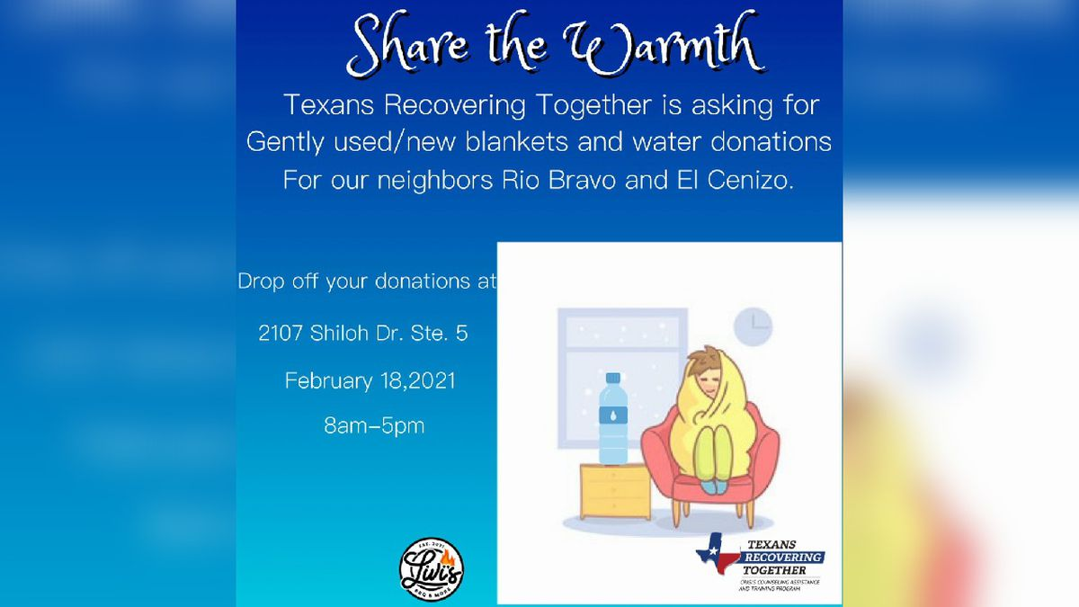 Texans Recovering Together asking for blankets and bottled water