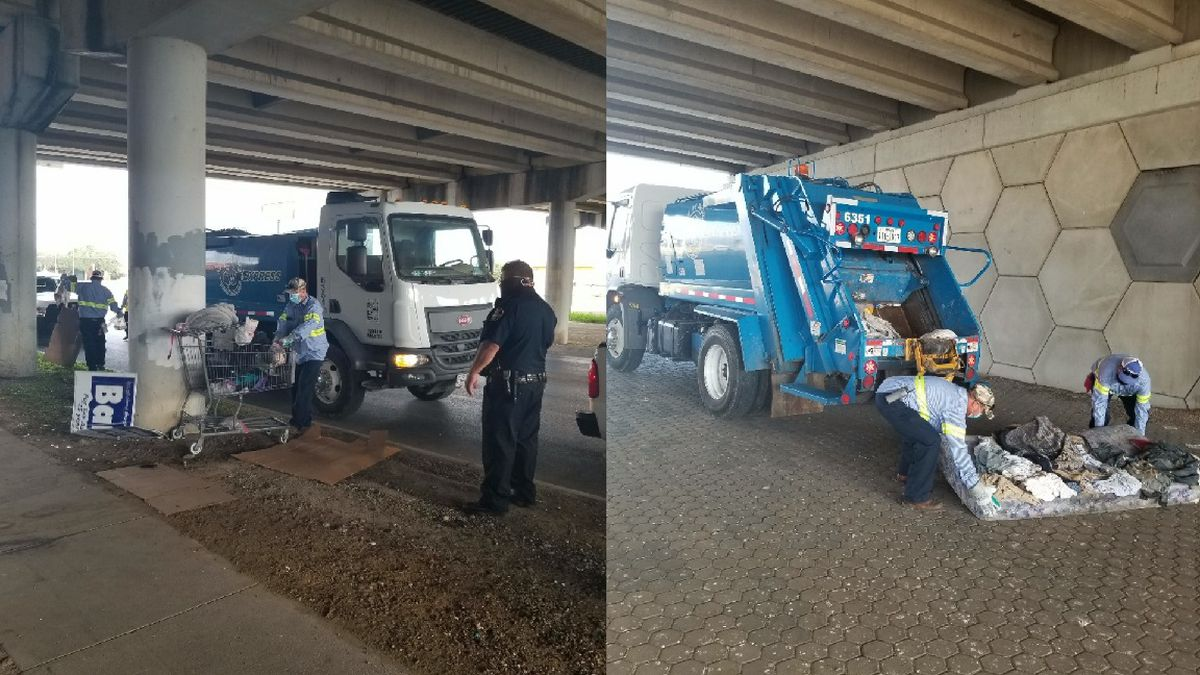 Crews clean up various overpasses