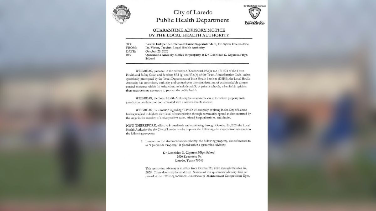 Letter issued by the City of Laredo Health Department