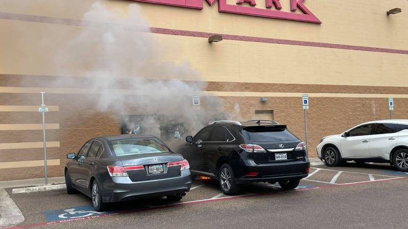 Car catches fire outside of Cinemark movie theater