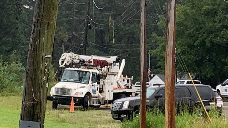 The men were working on the power lines in the 7300 block of Johns Road in Adger.