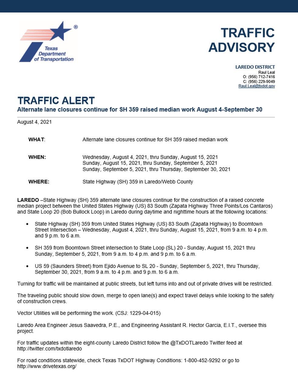 TxDOT Traffic Advisory for Highway 359 Project