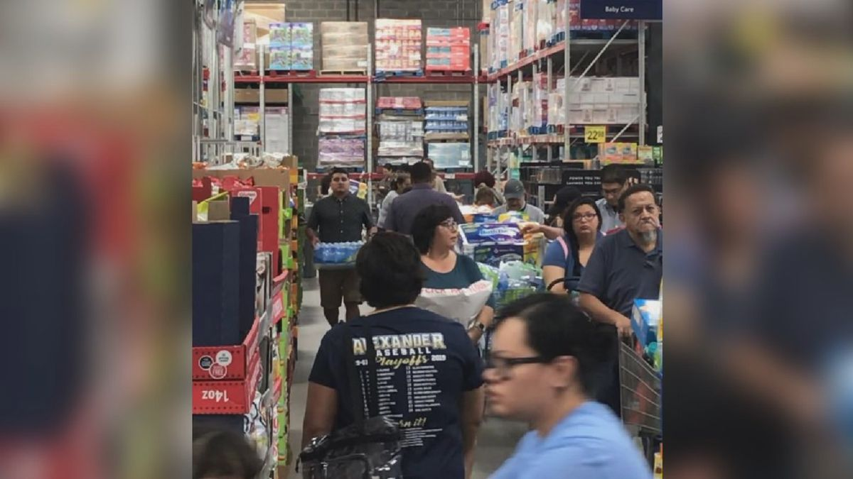 File photo: Shoppers stock up on supplies