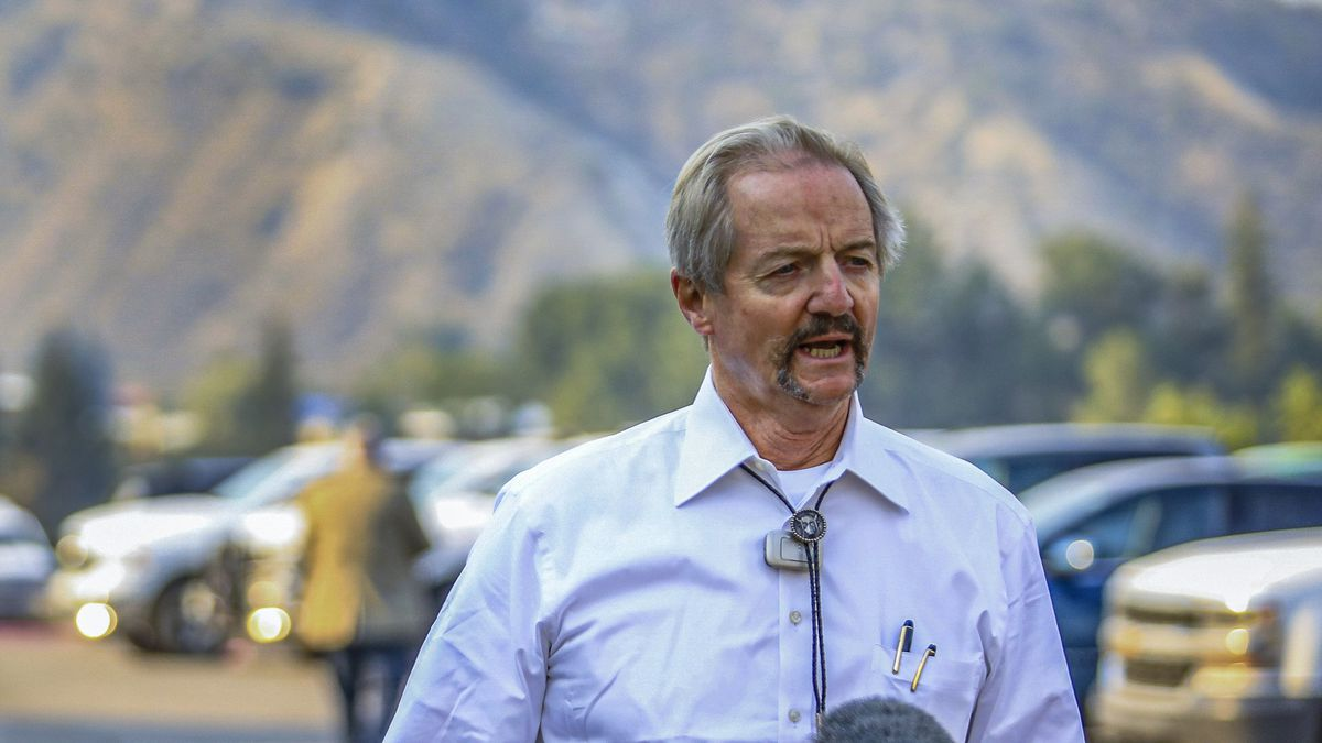 FILE - In this Aug. 14, 2020, file photo, William Perry Pendley, acting director of the Bureau of Land Management, speaks to the media on the Grizzly Creek Fire in Eagle, Colo. A federal judge has ruled that the Trump administration's leading steward of public lands has been serving unlawfully and blocked him from continuing in the position. U.S. District Judge Brian Morris said Friday, Sept. 25, 2020, that U.S. Bureau of Land Management acting director William Perry Pendley was never confirmed to the post by the U.S. Senate and served unlawfully for 424 days. Montana's Democratic governor had sued to remove Pendley, saying the the former oil industry attorney was illegally overseeing a government agency that manages almost a quarter-billion acres of land, primarily in the U.S. West.