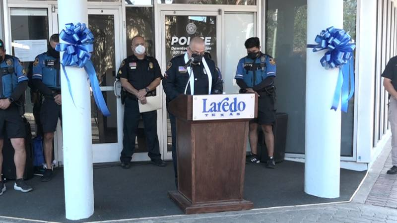 Officer Luis E. Raines speaks during ribbon cutting ceremony for police substation