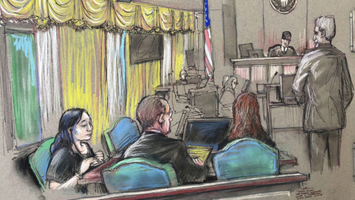 In this April 15, 2019 file court sketch, Yujing Zhang, left, a Chinese woman charged with lying to illegally enter President Donald Trump's Mar-a-Lago club, listens to a hearing before Magistrate Judge William Matthewman in West Palm Beach, Fla. (Daniel Pontet via AP, File)