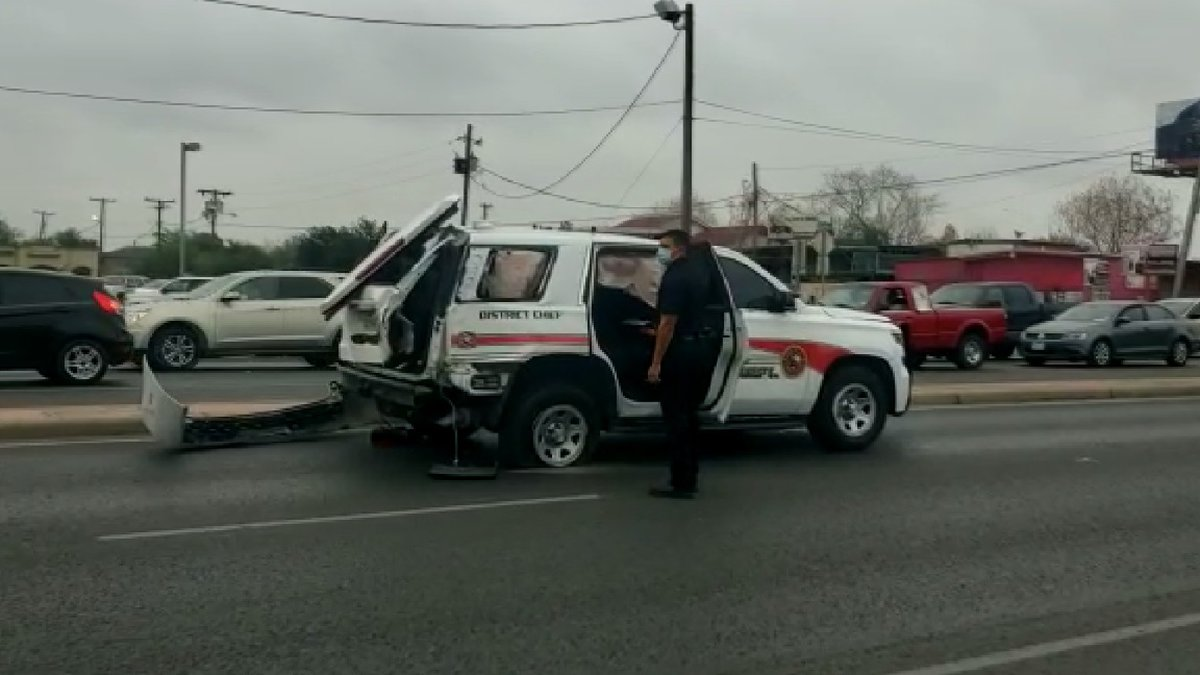 Fire vehicle involved in accident on Zapata Highway