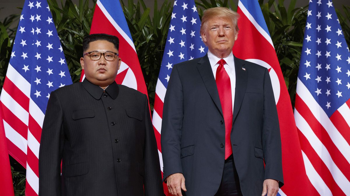 "In this June 12, 2018, file photo, U.S. President Donald Trump, right, meets with North Korean leader Kim Jong Un on Sentosa Island, in Singapore. North Korea on Saturday, July 4, 2020, reiterated it has no immediate plans to resume nuclear negotiations with the United States unless Washington discards what it describes as ""hostile"" polices toward Pyongyang."