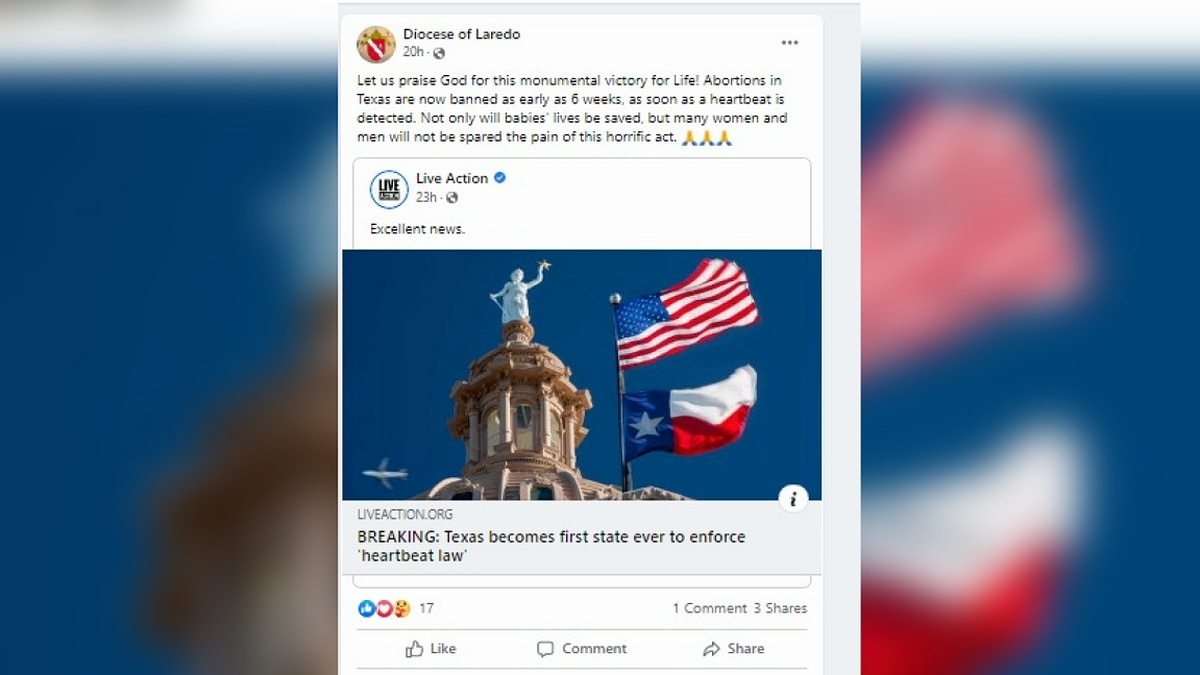 Diocese of Laredo response to new Texas heartbeat bill