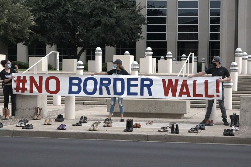 File photo: No Border Wall Coalition holds peaceful protest in downtown Laredo